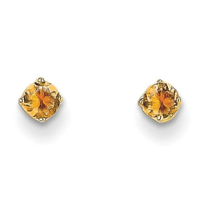 14 carats 3 mm-Citrine November Birthstone Boucles doreille