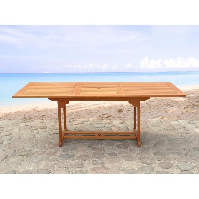 Table de jardin - table en bois rectangulaire à rallonges - Toscana ...