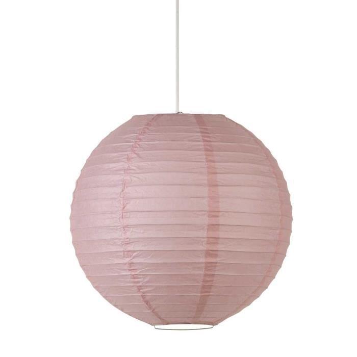 Lustre suspension boule japonaise diamètre 35 cm rose poudré