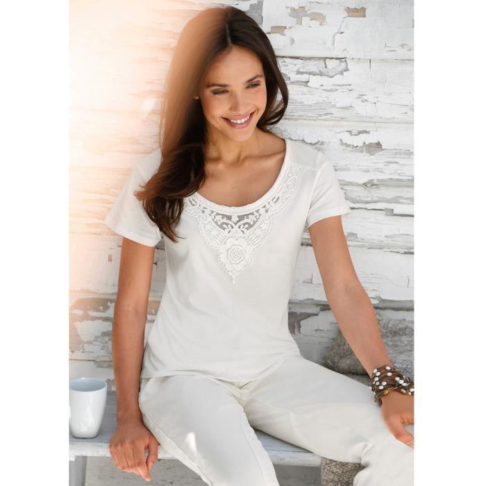 365635f4e25 T-shirt femme dentelle et guipur... Blanc - Achat   Vente t-shirt ...