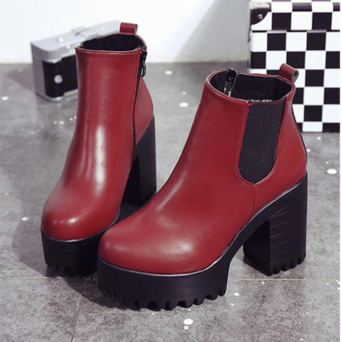 Chaussures  Femmes Plateformes Bottes en cuir à talons hauts Rouge + ... 3e939ddd51bb