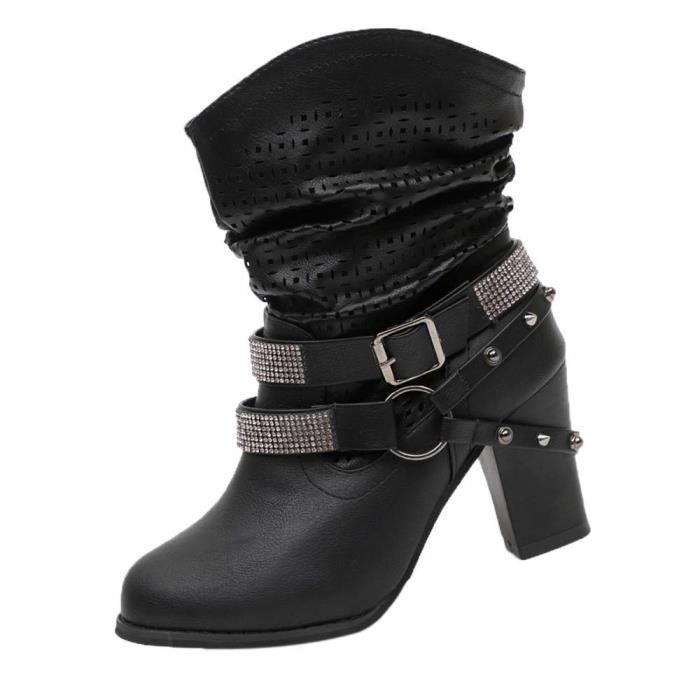 design de qualité 5419e 578bc Embouchoire Bottes Redfoot Boots MTNG Bottines Femme Noires Fila Chaussures  Femmes Automne Hiver Creux Cheville Bottines Talon
