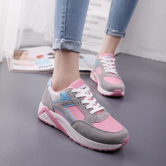 Sport Course Chaussures gris Femme Baskets Fond Noir De Pais Pour rose 4XE6qTq
