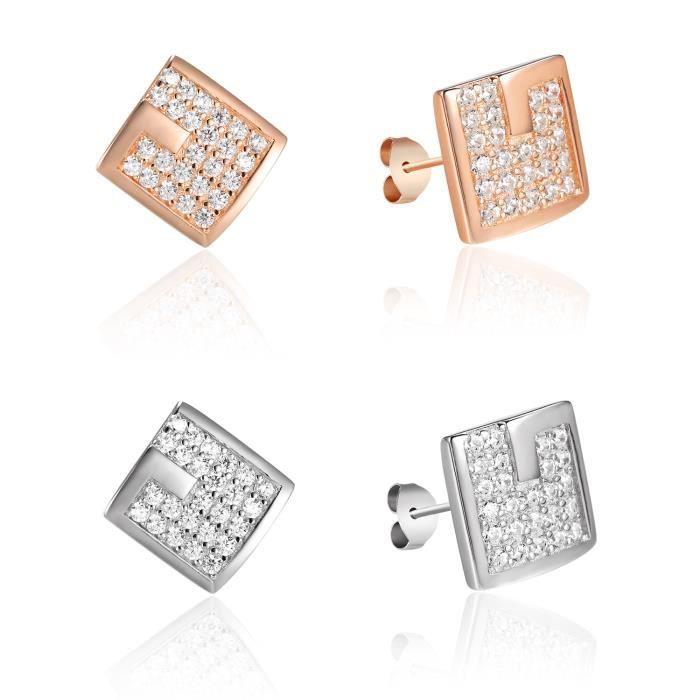 Argenté G Caractère Modèle Square Forme 925 Argent Sterling Zircon Stud Bijoux Boucles D'Oreilles