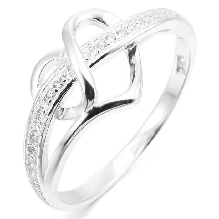 925 Argent Fin 925-1000 Anneau Bague Bague Zircon CZ Oxyde de Zirconium Argent Coeur C?ur Mariage Amour Femme
