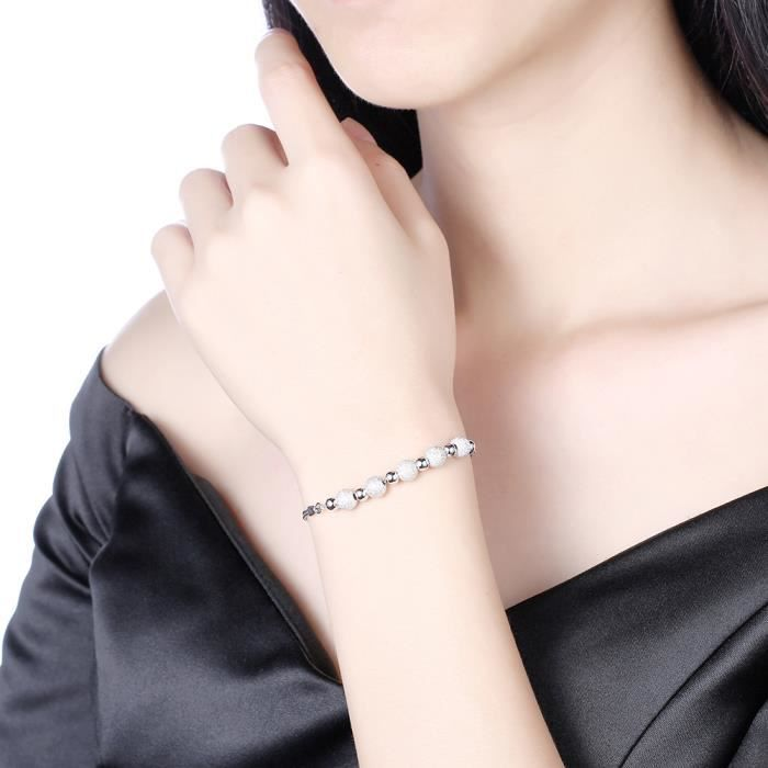 Bracelet femme en Plating Platinum Swarovski Elements Cristal Rond Ballon Bracelet Chaîne de poignet 17.5+3cm