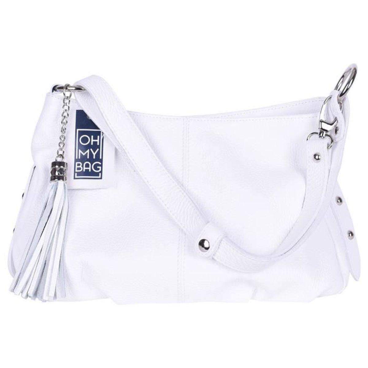 fd2e74b0381156 Sac À Main Femme En Cuir Italien - Modèle Lobe Blanc - Achat   Vente ...