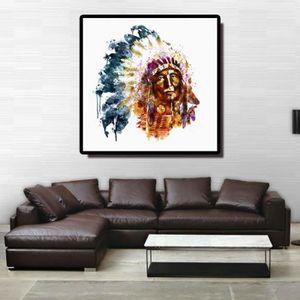 TABLEAU - TOILE Peinture à l'huile abstraite Indiens toile Impress