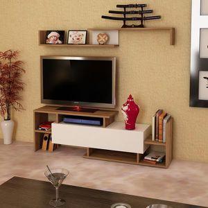 MEUBLE TV Dream Meuble TV Blanc-Noyer 150cm/ 42cm/ 25cm