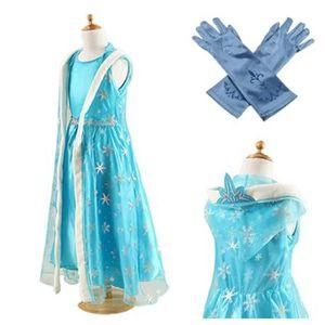 DÉGUISEMENT - PANOPLIE Robe + Paire de Gants Bleu Reine des Neiges Anna E