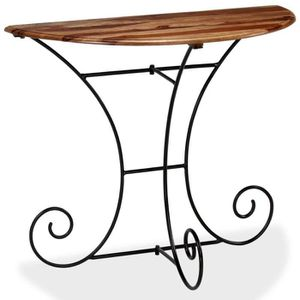 CONSOLE EXTENSIBLE Table console Bois massif de Sesham Demi-ronde 90