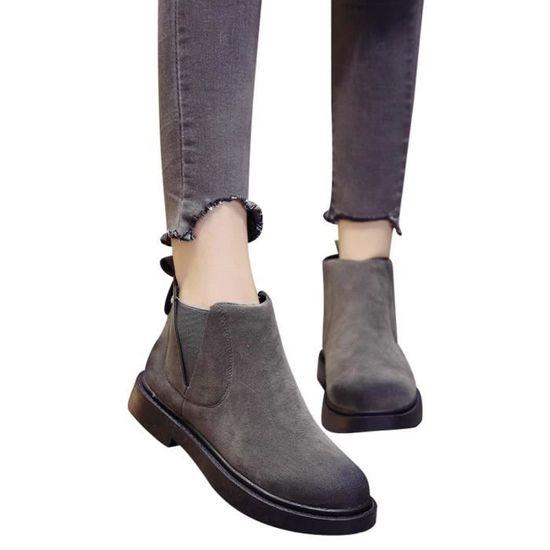 Spentoper Femmes rondes Chaussures à bout plat bottillons Slip-On Chaussures en daim de couleur unie Martin Bottes@Gris Gris Gris - Achat / Vente slip-on