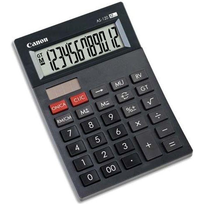 CANON Calculatrice de bureau AS-120 - 12 chiffres - Panneau solaire, pile - Gris foncé