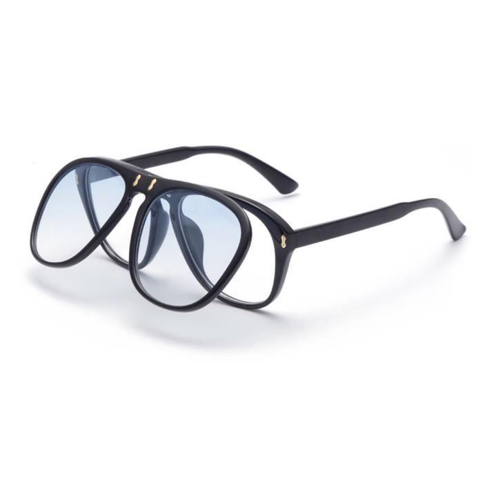 0c5bb9182c9b2a Lunettes de soleil ronde mixte homme et femme Flip couvercle sunglasses  avec Grande Cadre Rétro Noir