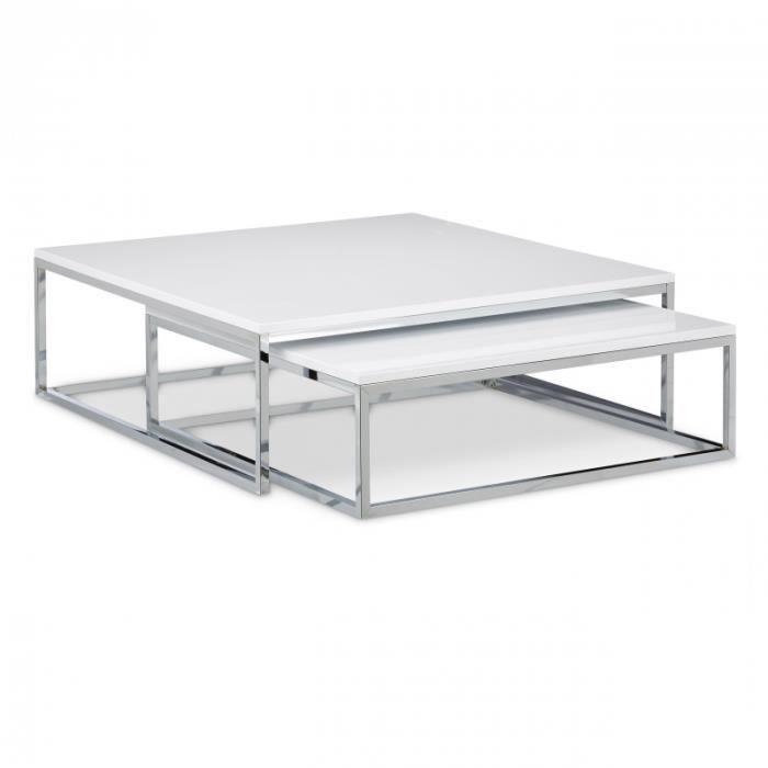 Lot De Deux Tables Basse Gigogne Metal Et Blanc 80 X 80 Cm 0913007