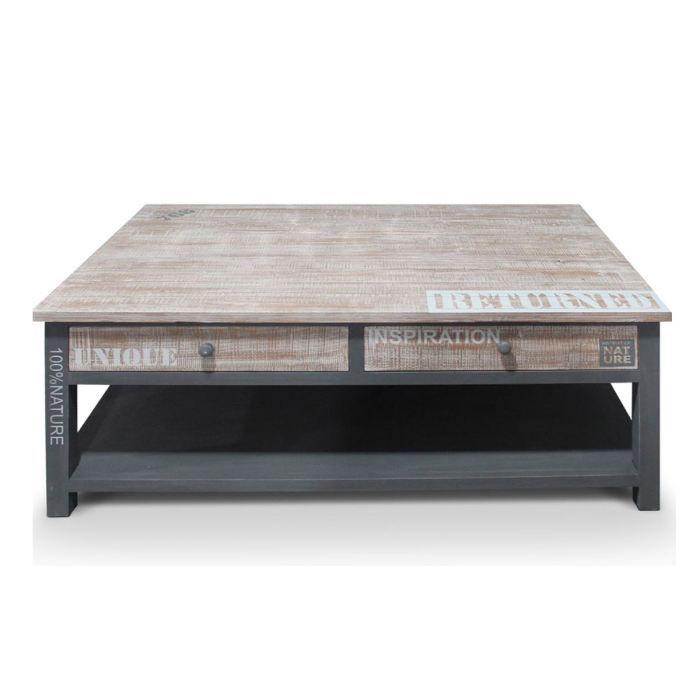 table basse en bois naturel grise natura