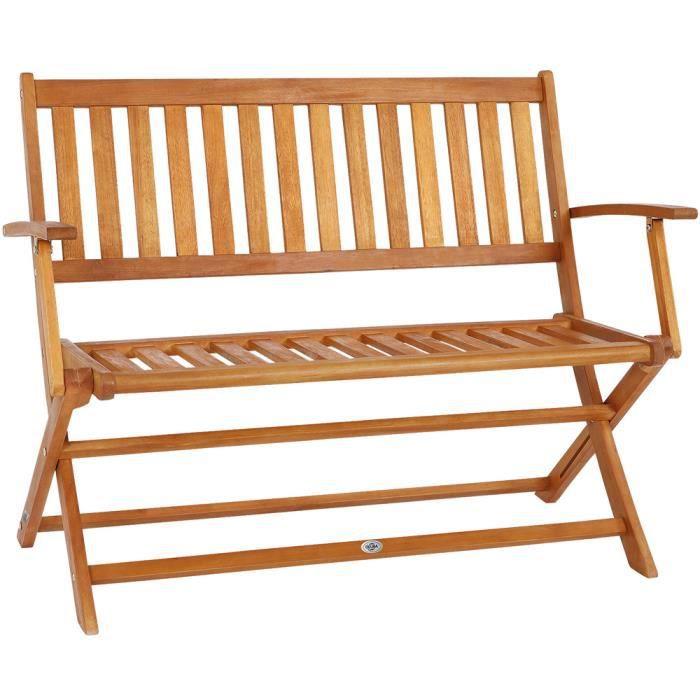 Banc de Jardin Pliable Bois d\'eucalyptus certifié FSC® 2 Places 4 Pieds  Robustes Banc en Bois pré-huilé terrasse Balcon meuble