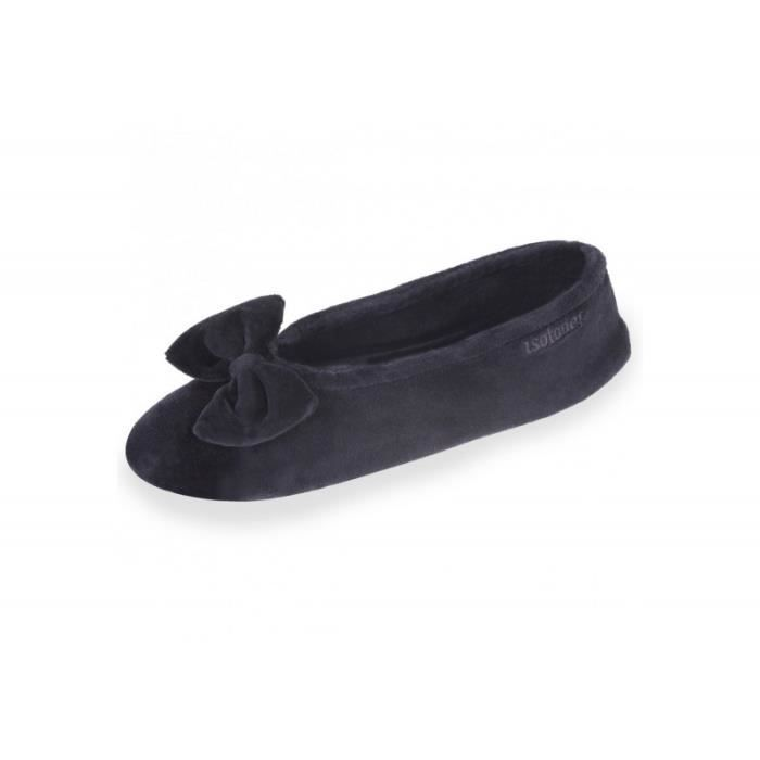 ff4417d85c5462 Chaussons ballerines femme Velours - grand nœud 95811-AAG Isotoner ...