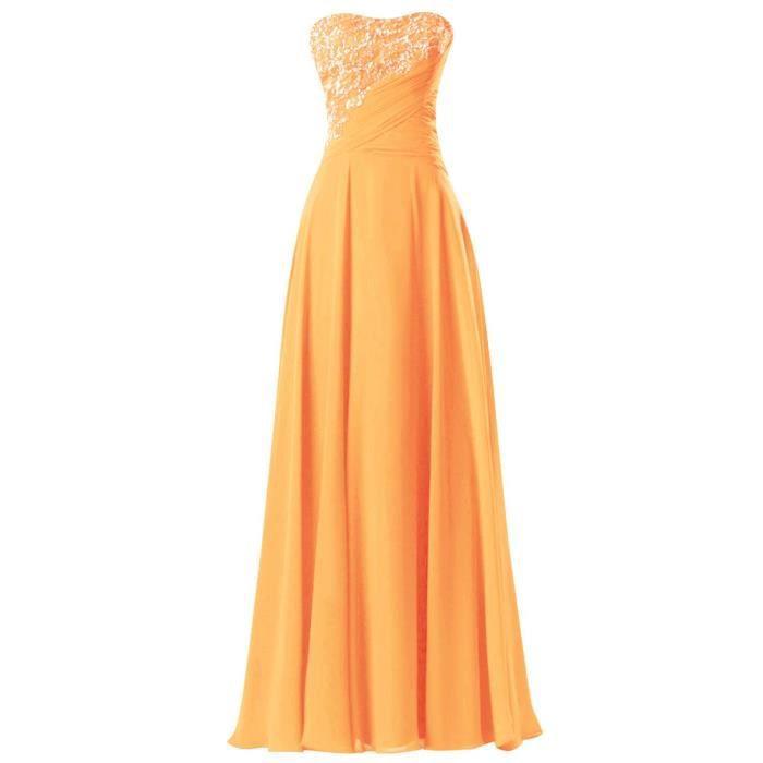Robe Longue de Soirée Cocktail Bustier en Cœur Mousseline de Soie Haut Plissé avec Dentlle Paillettes Grande Taille-Orange