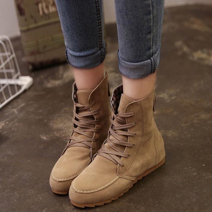 Chaussures à lacets en laine pour femme Bottes en motoneige Chaussures en cuir en daim A11 Xt7HHv
