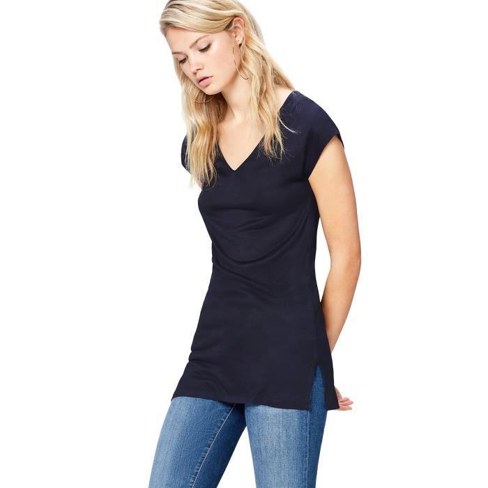 T-shirt Long Uni Col V Femme 1RIMC7 Taille-32 Bleu Bleu - Achat ... af82b2994ee