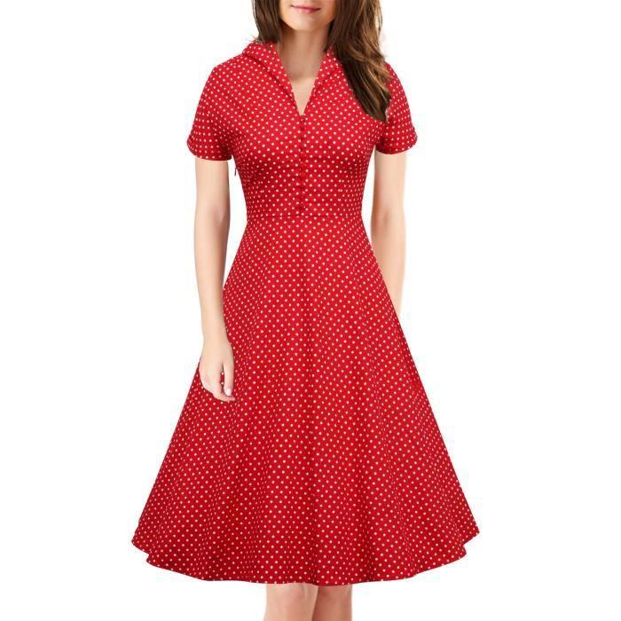 À manches courtes sexy des femmes de style vintage 1950 Parti Rockabilly Robe 2FB3R6 Taille-36