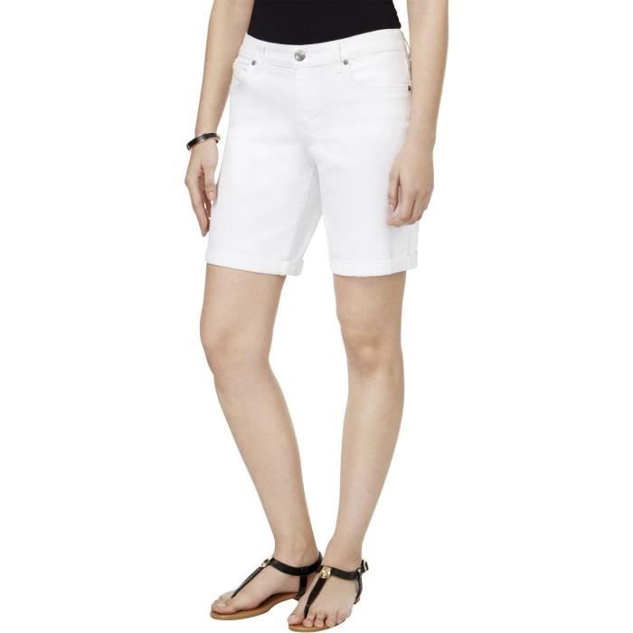 super service chaussures élégantes invaincu x short en denim à manches courtes à revers blanc pour femme AZ391 Taille-48