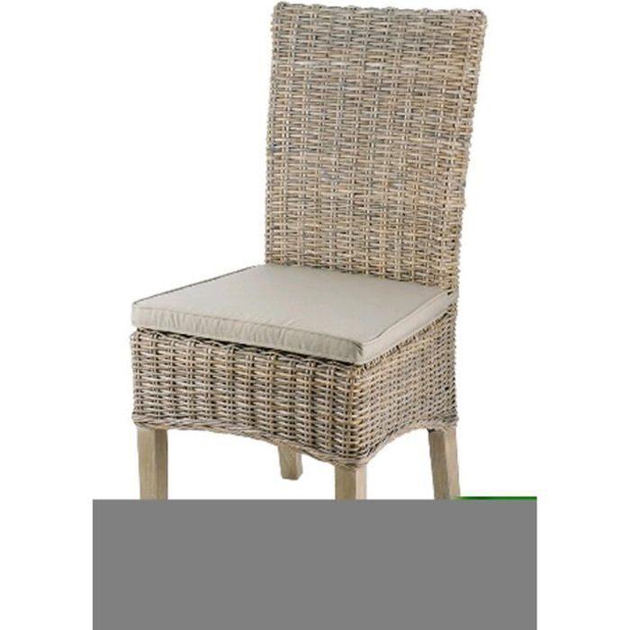 chaise en rotin coloris taupe dim l 48 x p 57 x ht 105. Black Bedroom Furniture Sets. Home Design Ideas