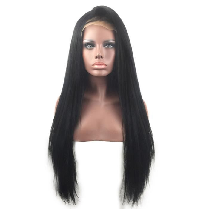Perruque Synthétique 30inches Noir Yaki Straight