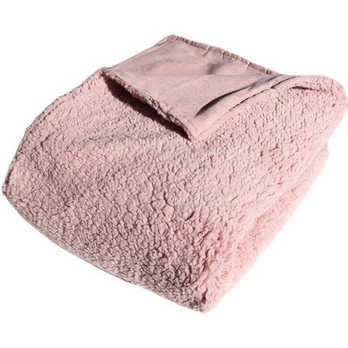 plaid r versible extra doux rose poudr 130x160cm caline. Black Bedroom Furniture Sets. Home Design Ideas