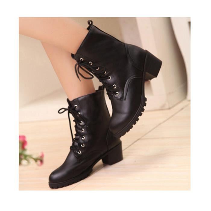 Bottine Automne Hiver Chaussure Boots Femme Lacet En Cuir Pu LTHH2R7