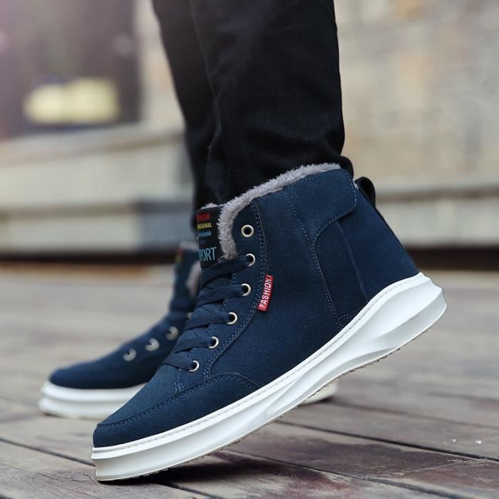 Botte Homme British Simple Loisirs non-slipAjouter Laine Skater bleu foncé taille44