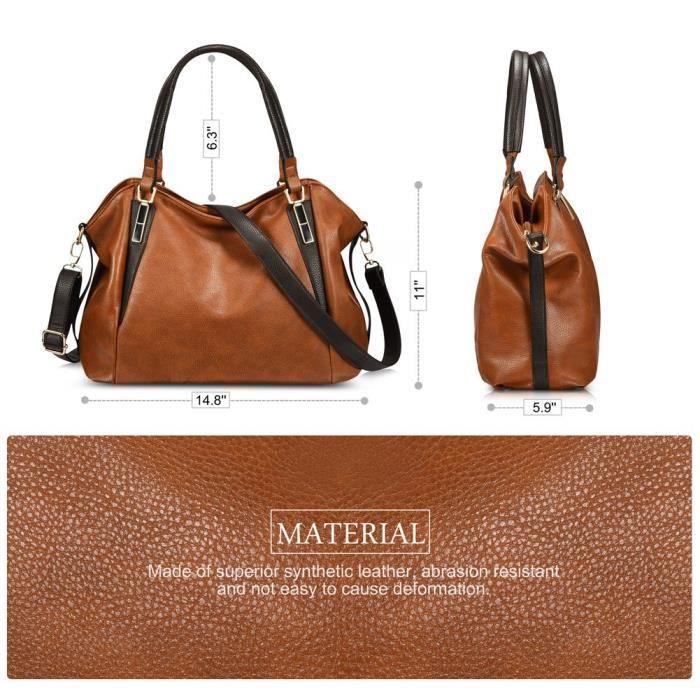 Oruil Sac fourre-tout en cuir marron femmes italiennes sacs à main en cuir souple ladys top sac à poignée avec double zip (Marron) RnG9B