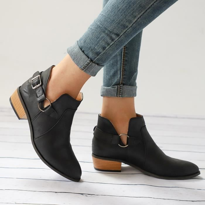 Toe Bottes Chaussures Noir Casual Classique Bottines Pointu Femmes Martin Mode qAwFfE