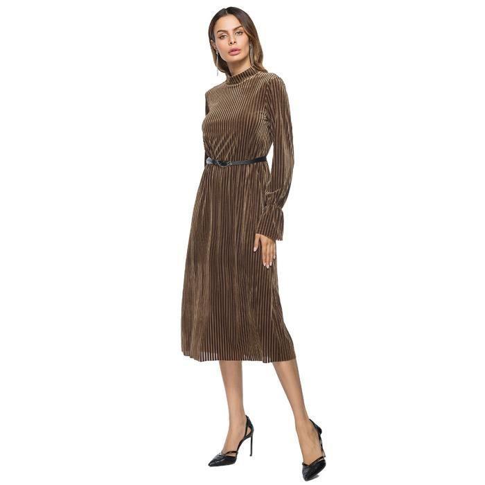 Robe femme velours de soie col montant manches longues mi-longue SIMPLE FLAVOR