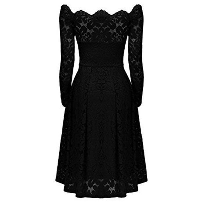 6e947b974c5 Noir Femme Dentelle Encolure Dedasing® Formelle Vintage Soirée Manches Robe  Longues fzTqvSxwqn