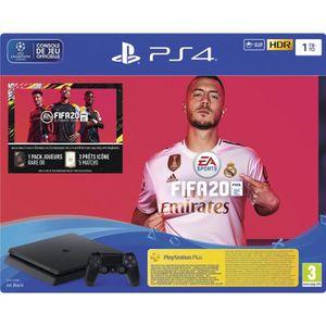 CONSOLE PS4 NOUVEAUTÉ Console PS4 Slim 1To Noire + FIFA 20 Jeu PS4 + PS