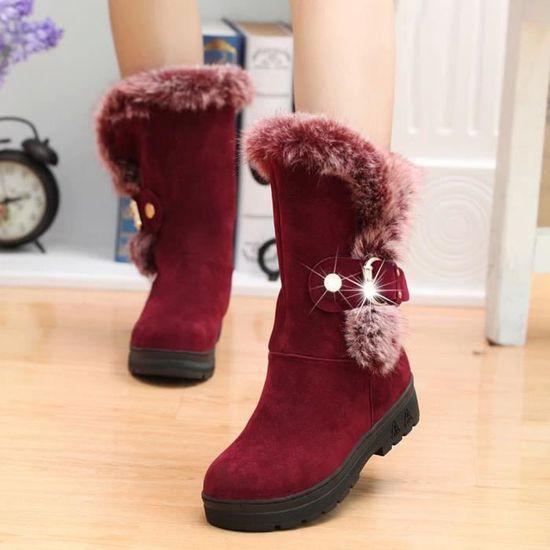 Pilerty®Femmes Bottes Slip-On Soft Bottes de neige bout rond plat fourrure d'hiver Bottines@Du vin  Du vin - Achat / Vente slip-on