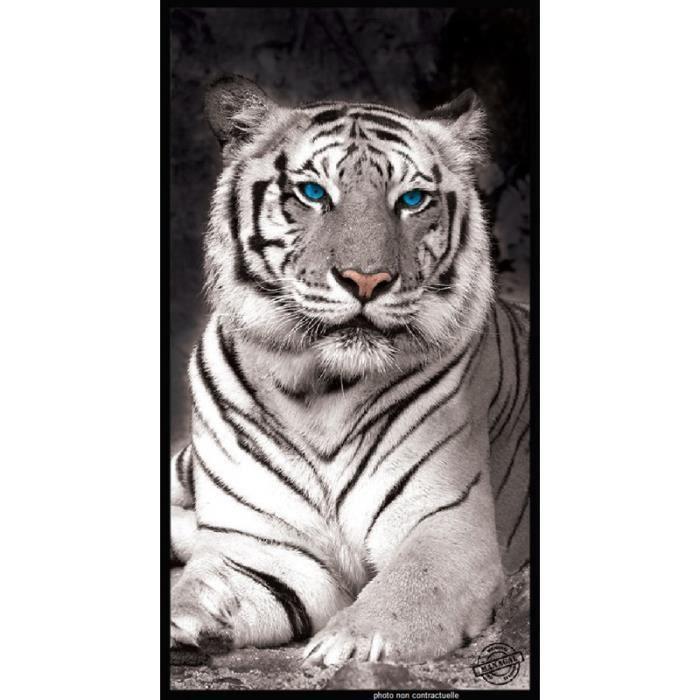 serviette de plage tigre blanc 95x175 cm achat vente serviette de plage soldes d s le 10. Black Bedroom Furniture Sets. Home Design Ideas