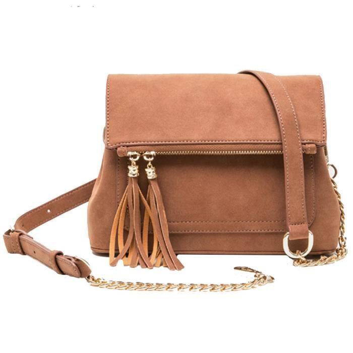 dame plier sur la mode gland sac à main solide nubuck enveloppe sac à bandoulière marron H3P50