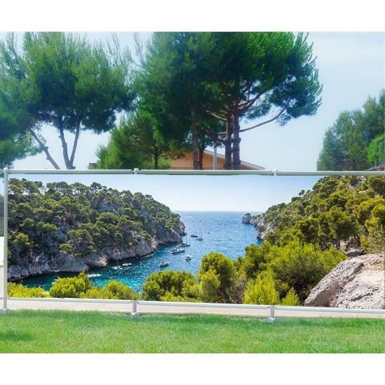 Brise vue imprimé, jardin, terrasse, balcon déco Les Calanques ...
