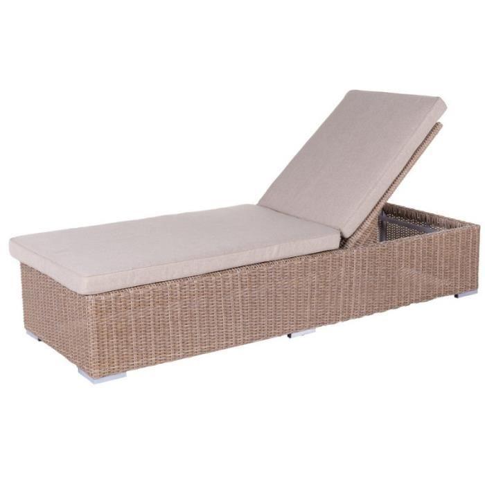 bain de soleil en r sine tress e et coussin beige palencia. Black Bedroom Furniture Sets. Home Design Ideas
