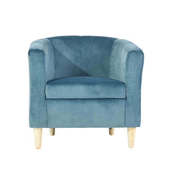 Homy Casa Fauteuil de salon Scandinave en Velours Bleu