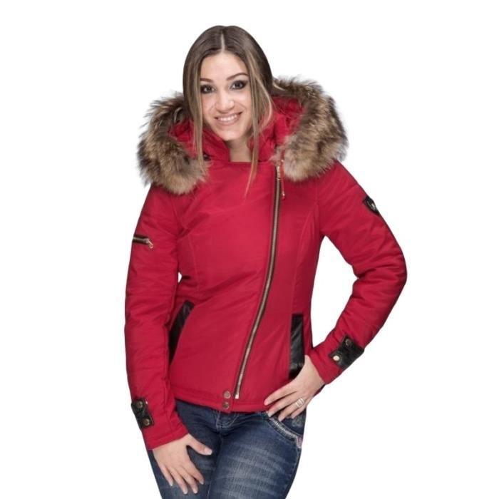 Doudoune femme avec capuche fourrure Rouge ROUGE - Achat   Vente ... c295065cbc8