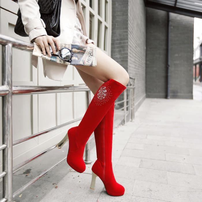 martin boots-Pure Color Haut Talonpais de fem...
