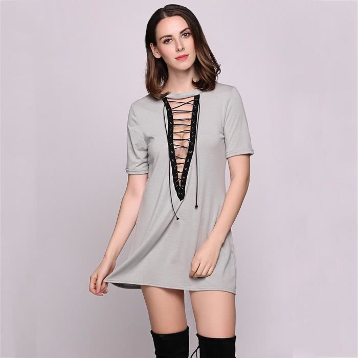 Mini robe Femmes Sexy manches courtes solide a-line