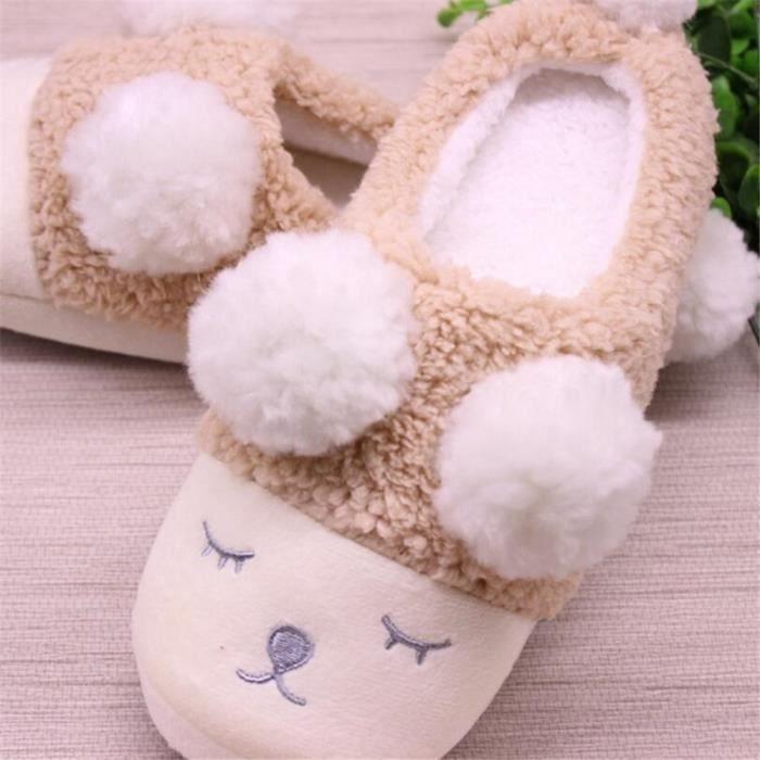 Petit mouton Chaussons Femme Coton Hiver Nouvelle arrivee Chausson Extravagant Peluche courte Confortable chaussure Taille 36-40