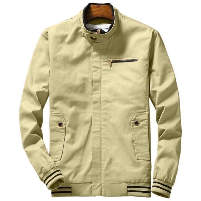 BLOUSON Blouson Printemps Homme 100% Coton Casual Veste Co