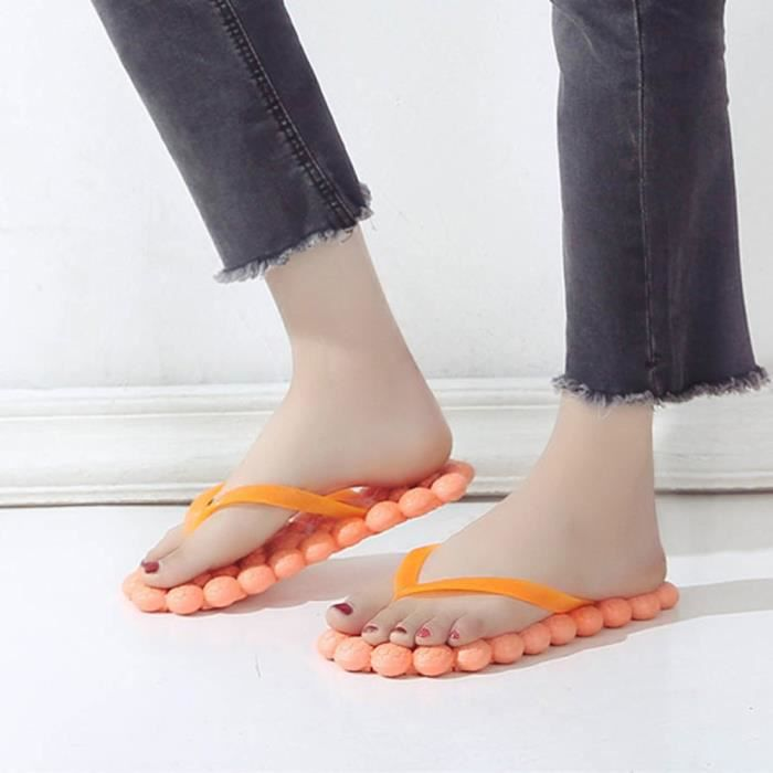 SANDALE - NU-PIEDS Mode féminine massage talon plat Chaussures anti D