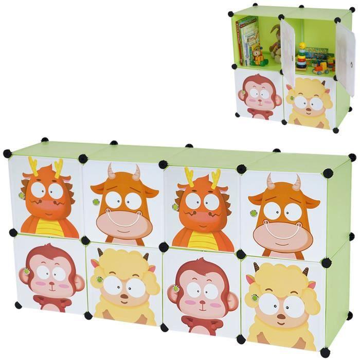 Armoire verte de rangement pour enfants à 8 boîtes - Dim boîte : 36 ...